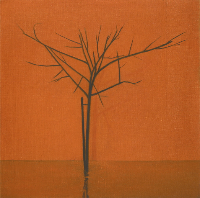 Tree and Stick, 2017, Oil on canvas, 25x25cm, Photograph by Jean-Louis Losi, courtesy of Galerie EIGEN + ART Leipzig/Berlin