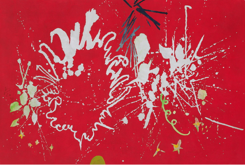 Kim Sundoo   Radiant Fireworks   2014   Ink and color powder on rice paper collage   90x135cm