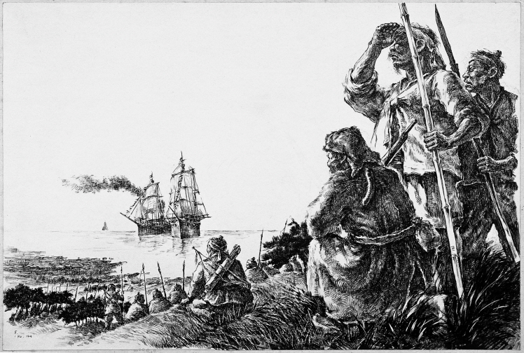 The Battle Against the Catholic Power (from France), 1990, Pen and black ink on paper, 36x53.2cm