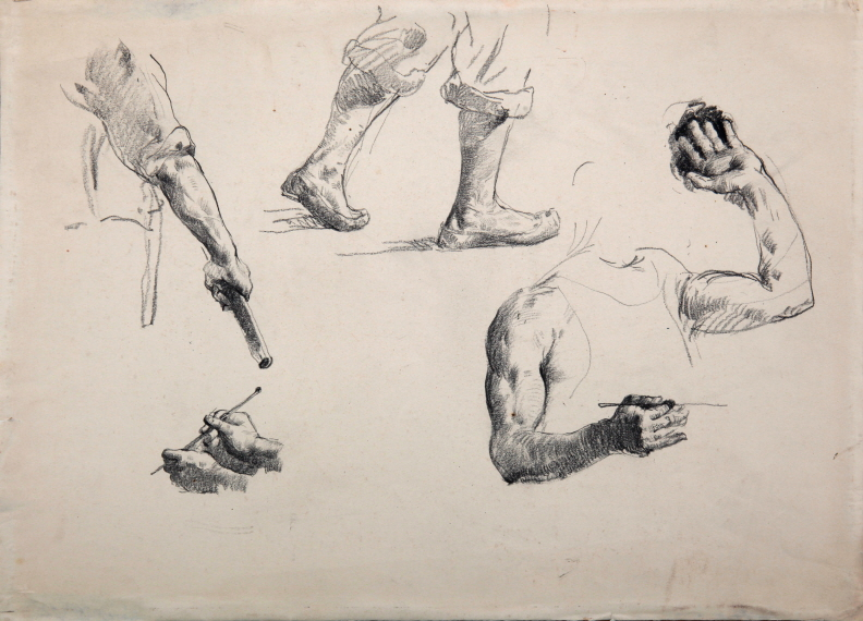 Sketch, 1947, Charcoal on paper, 38×53.5cm