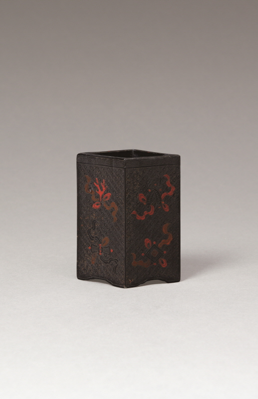 Carved Black Lacquer 'Eight Treasures' Brushpot, Ming Dynasty, H14 W11.5