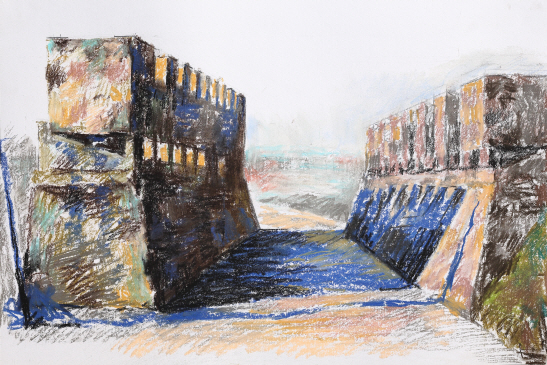 At Yeoncheon, 2016, Pastel on paper, 31.5x47cm