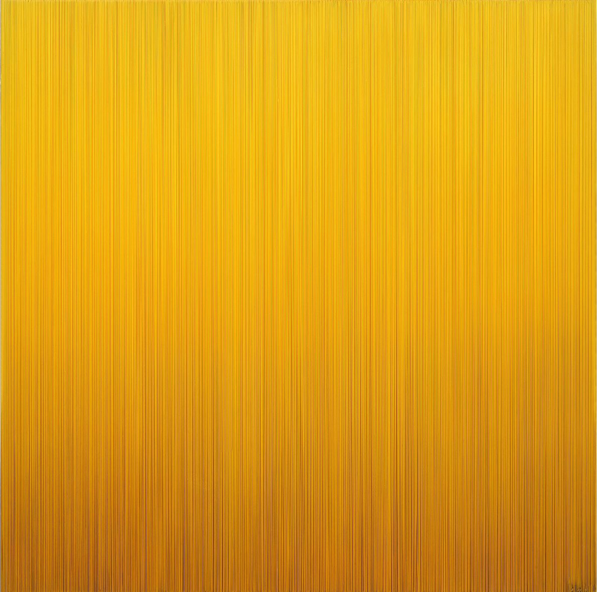 Who likes K yellow?, 2016, Epoxy resin, acrylic color, aluminium frame, 100x100x8cm