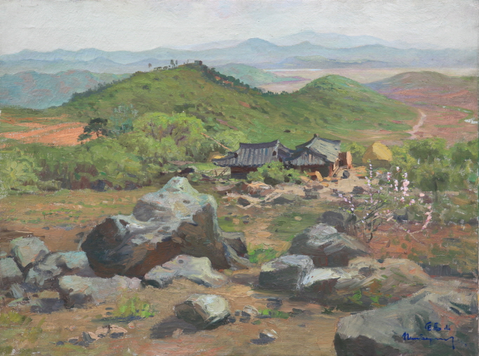 Scenery of the Baekma Mountain, 1953,  Oil on canvas, 54×72cm