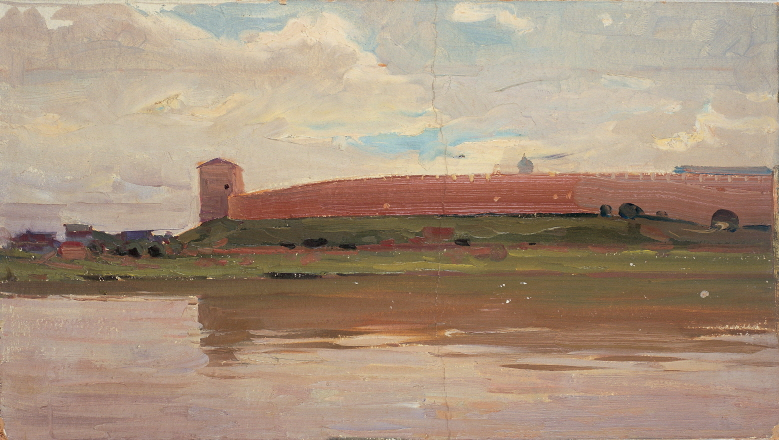 Novgorod Castle (Etude), 1958, Oil on panel, 28×50cm