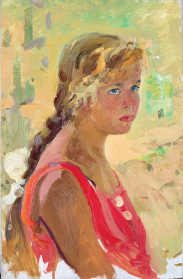 Girl in a Red Dress, 1961, Oil on canvas, 54×34cm