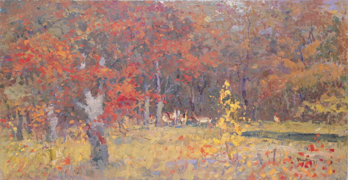 Autumn Forest, 1987, Oil on canvas, 52×100cm
