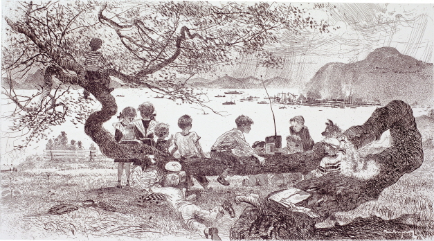 First-graders in Nakhodka, 1966, Etching, 38×69cm