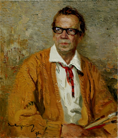 Portrait of the Artist M. A. Kaneyev, 1976, Oil on canvas, 70×60cm