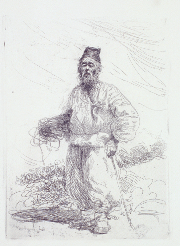 Farmer Walking with a Stick, 1958, Etching, 20.2×14.8cm