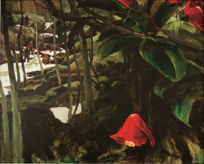 The Camellia Has Fallen, 1991, Acrylic on canvas, 130.6x162.1cm