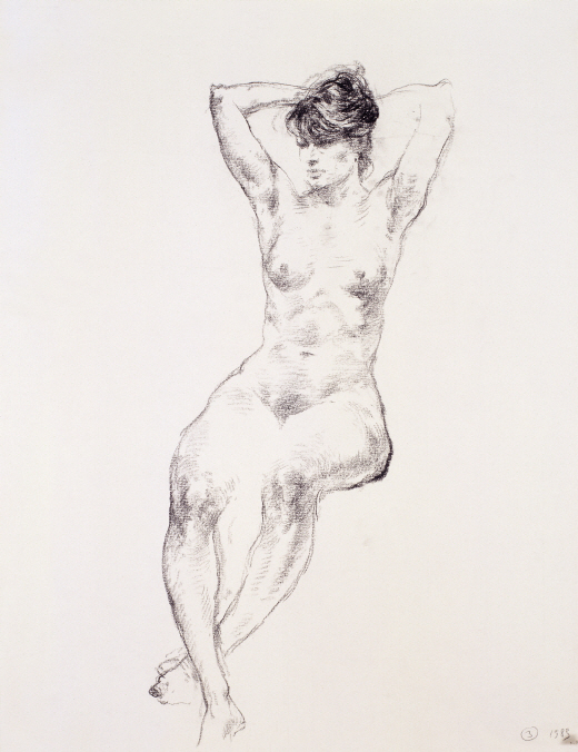 Nude Model No. 3, 1983, Charcoal on paper, 63.5×49cm