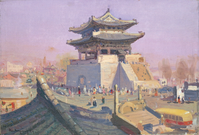 Taedongmun, Pyongyan, 1953, Oil on canvas, 42.5×62.5cm