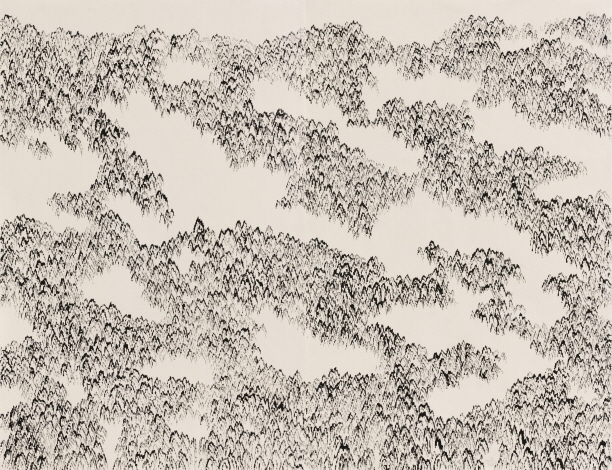Mountain–Faraway, 2018, Ink on cotton fabric, 248x318cm