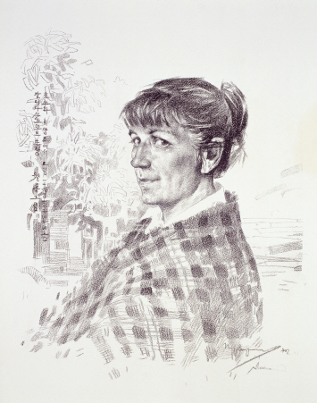 Portrait of Galina Sokotov, 1970, Lithograph, 64×53cm