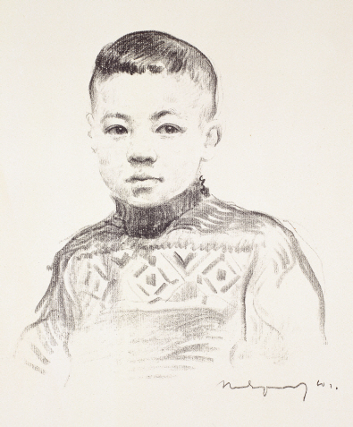 Portrait of Sergay, the Artist's Own Son, 1960, Lithograph, 35×30cm