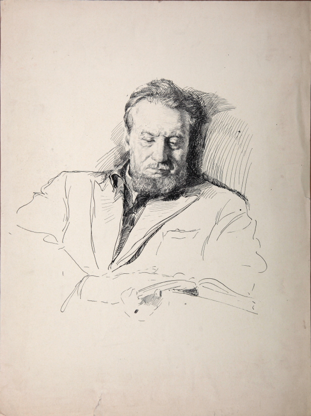 Sketch of a Man with a Beard, 1956, Ink, pen on paper, 52×37.5cm