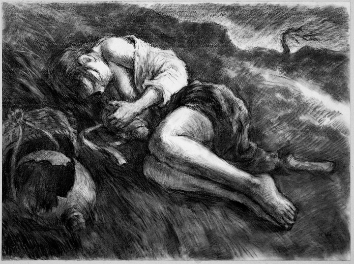 Rape, 1991, Charcoal on paper, 55.3x76cm