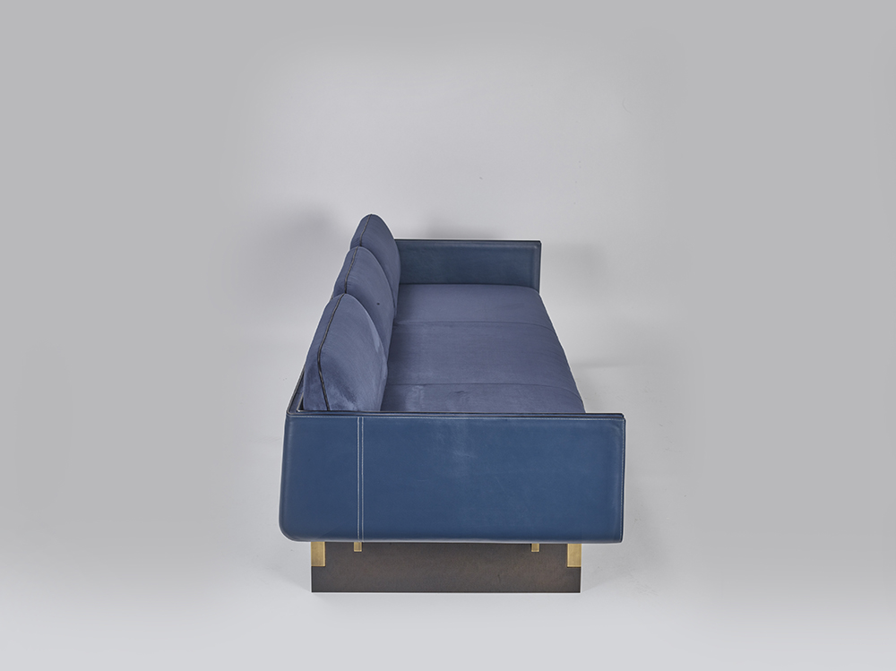 Indigo_sofa, 2016, Leather, bronze, 232x83x73cm, Manufactured by PROMEMORIA, Photo by Daniele Cortese
