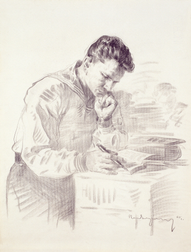 Naval Soldier Holding a Book, 1960, Charcoal on paper, 63.5×48cm