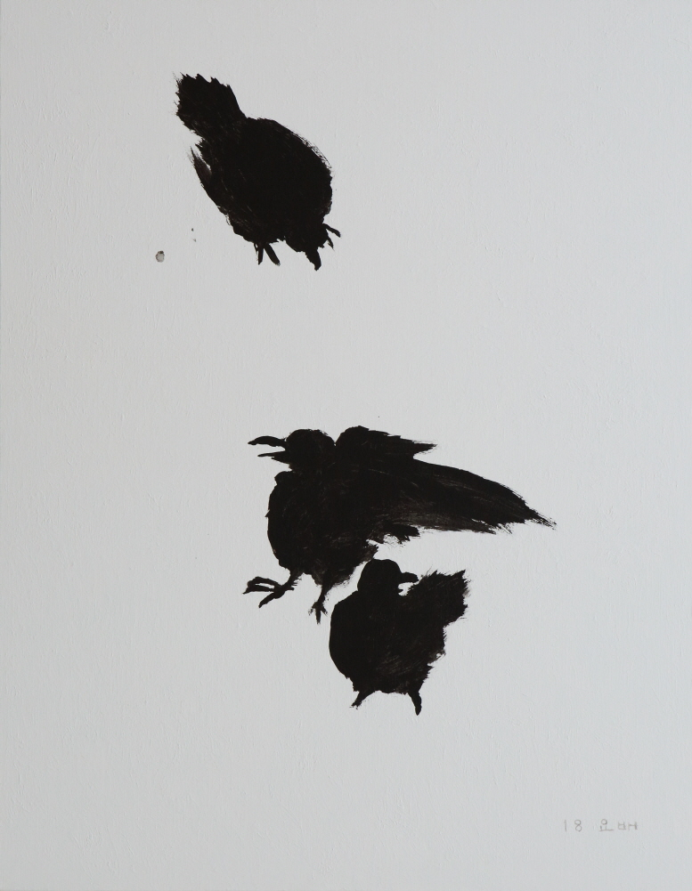 Crows on Snow, 2018, Acrylic and black ink on canvas, 116.5×91cm