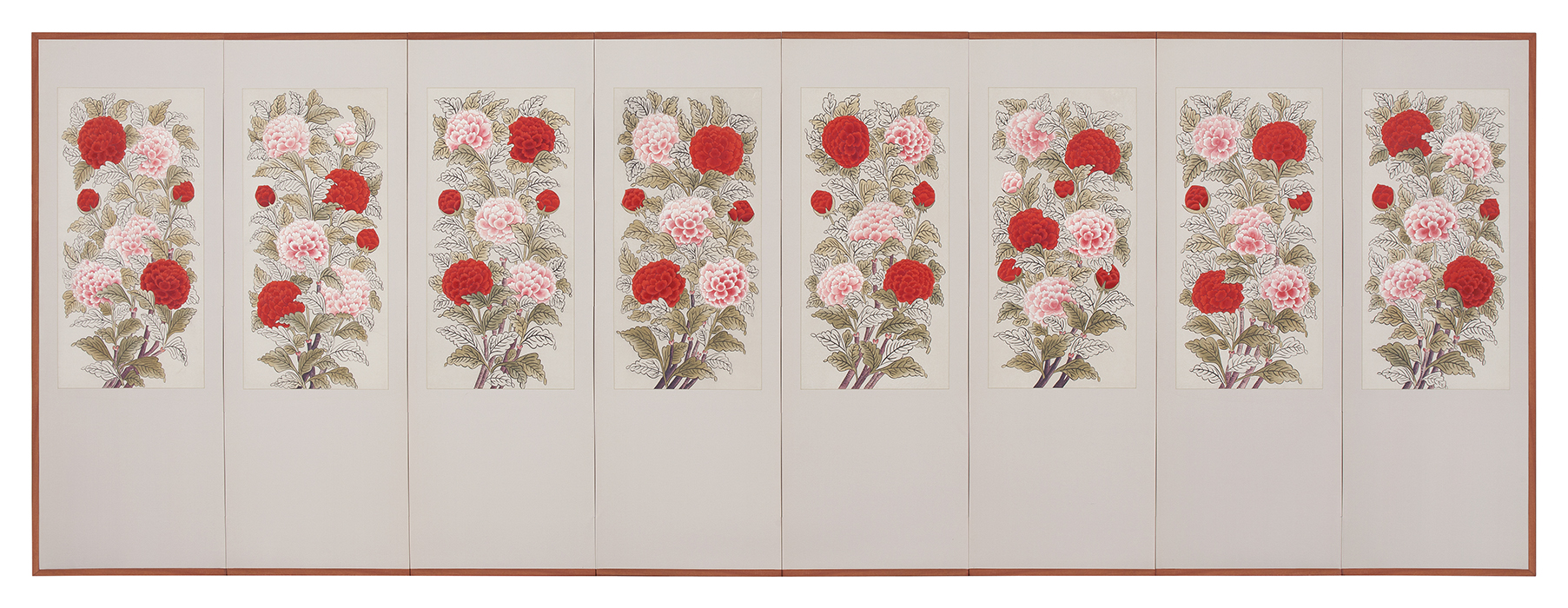 Peonies(Morando), 2012, Color on Korean paper, (42 x 86 cm) x 8panels