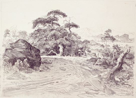 Scenery of North Korea, 1958, Etching, 33×46.2cm