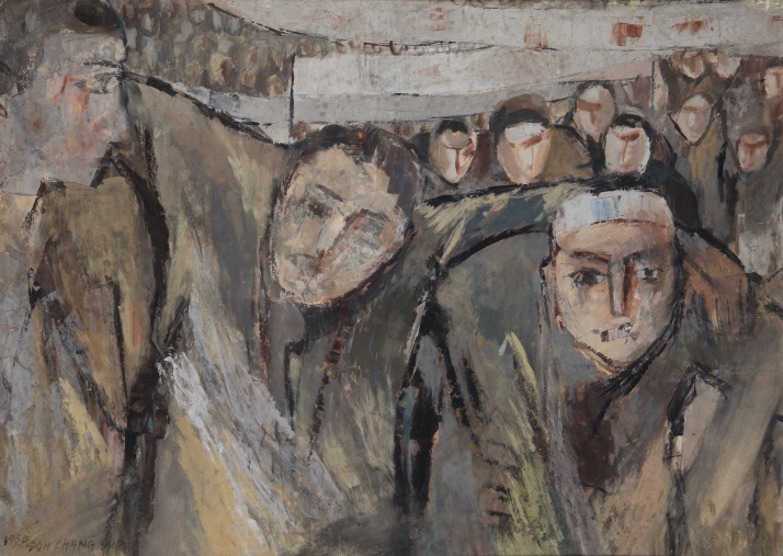 April Revolution, 1960, Watercolor on paper, 47x65cm