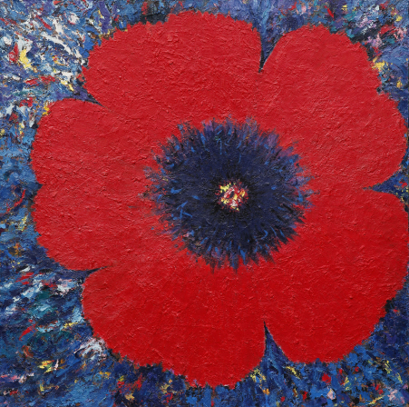The Red Flower, 2008, Oil on canvas, 100x100cm