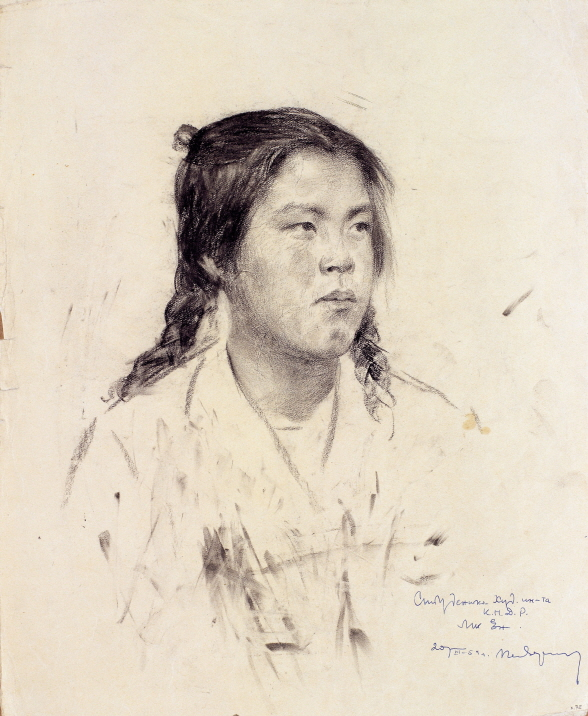 University Student Meeyoung, 1953, Charcoal, pencil on paper, 39×31.5cm