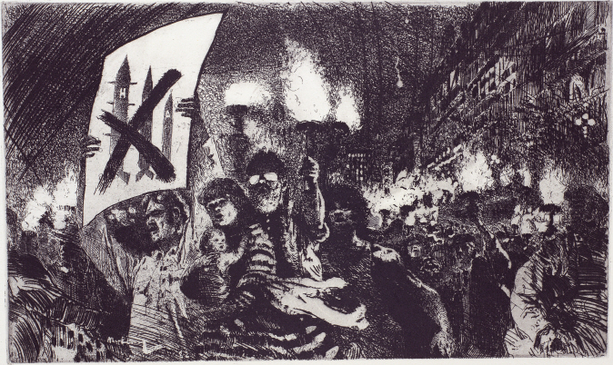 Protest March, 1982, Etching, 24.5×41cm