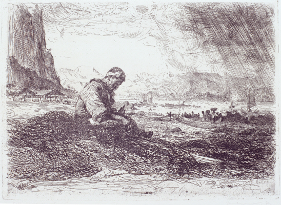 North Korean Fisherman, 1958, Etching, 36×49.8cm