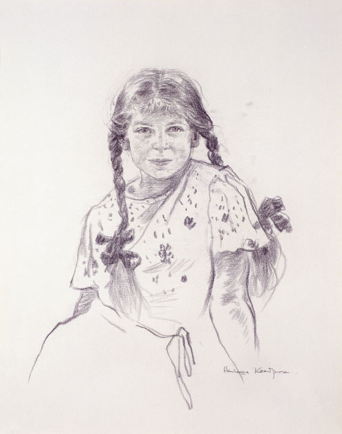 Portrait of Natasha Kondron, 1986, Charcoal on paper, 63×49.5cm