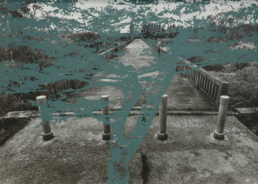 The Bridge of No Return, 1996, Silkscreen on photograph, 85.5x118cm