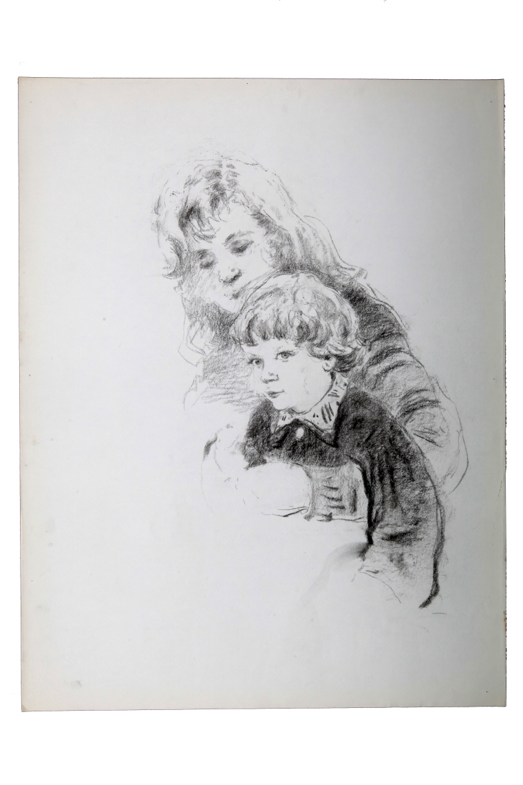 Woman Holding a Girl in Her Arms, 1983, Charcoal on paper, 63.5×49cm