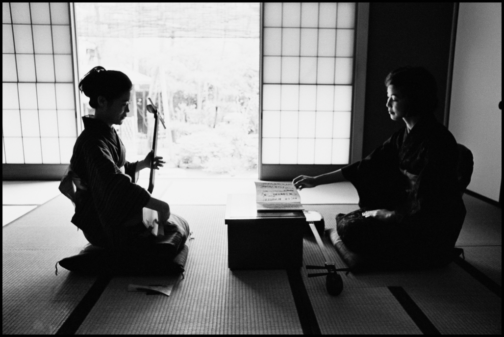 A private bridal school, where ladies go through basic training to seek well-to-do future husbands, Kanagawa, JAPAN, 1966, Platinum print, 14x20 15/16 inches