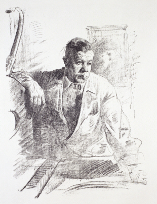 At the Lithography Workshop, 1959, Lithograph, 63×46cm