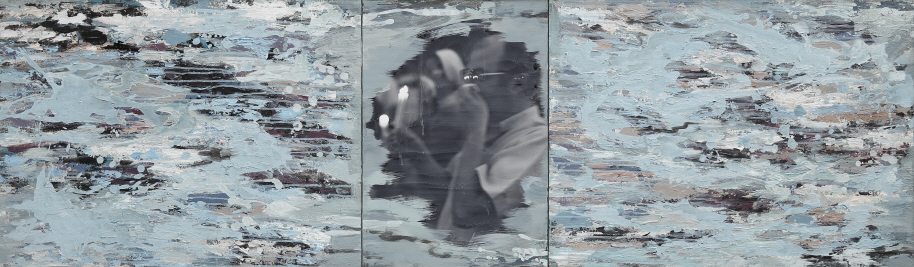 Like Streaming Water - Gwangju, 1997, Acrylic on canvas and photograph, 58x194.5(58x77.5, 58x39.5, 58x77.5)cm