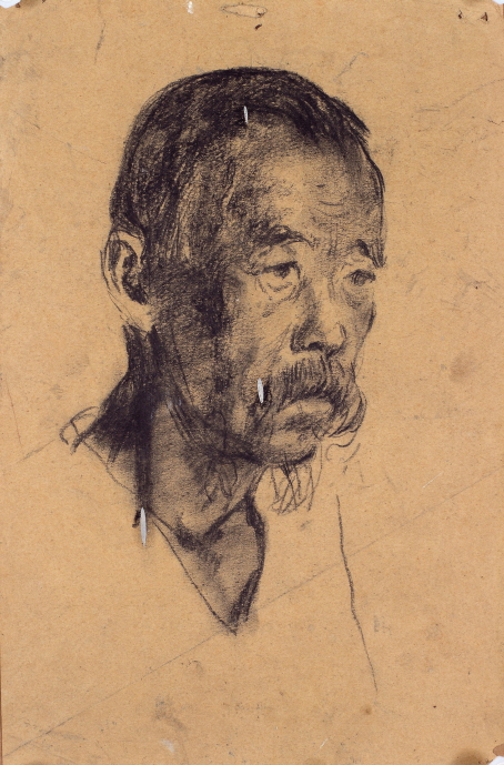 Face of a Man, 1943, Charcoal on paper, 37.7×24.4cm