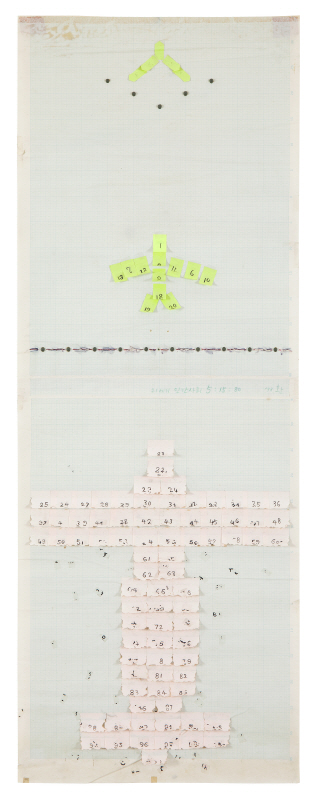 The Twenty-First Century Human Society 51580, 1998, Post-it on paper, 147.7x54cm