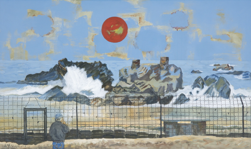 Security Fence of Eastern Coast and Sunrise, 2006-2009, Acrylic on canvas, 97x162cm