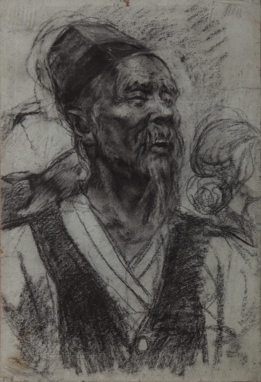 Sketch of a Farmer Wearing a Vest, 1948, Charcoal on paper, 57×39cm