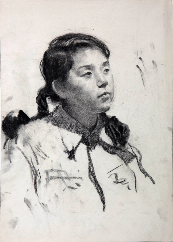 University Student Whose Last Name is 'Lee', 1954, Charcoal on paper, 40.5×29cm