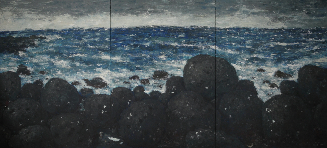 Water Rocks  2011  Acrylic on canvas  259x570cm