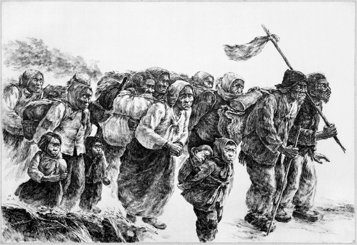 The Refugees Coming Down from the Mountain, 1989, Pen and black ink on paper, 54.4x79.3cm