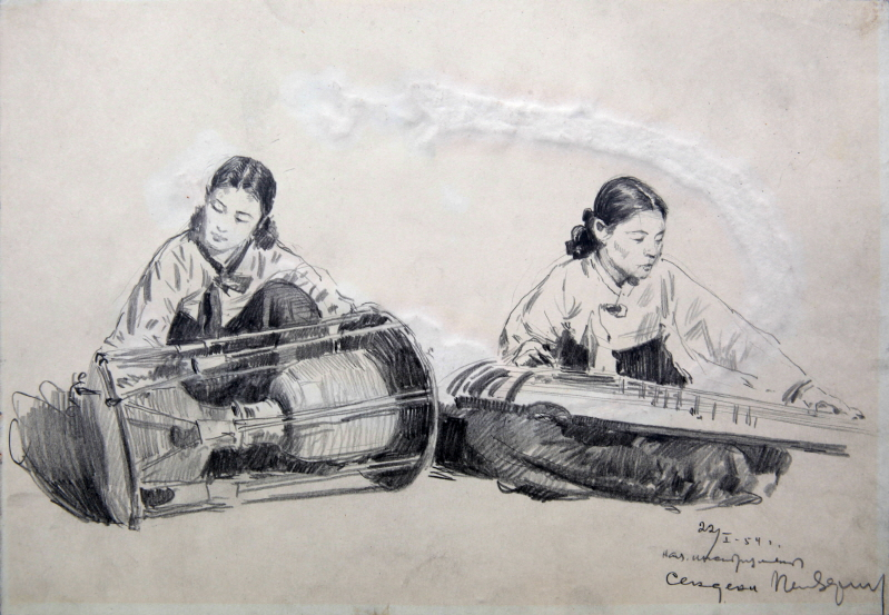 Women Playing Folk Instruments, 1954, Pencil on paper, 20×28.8cm