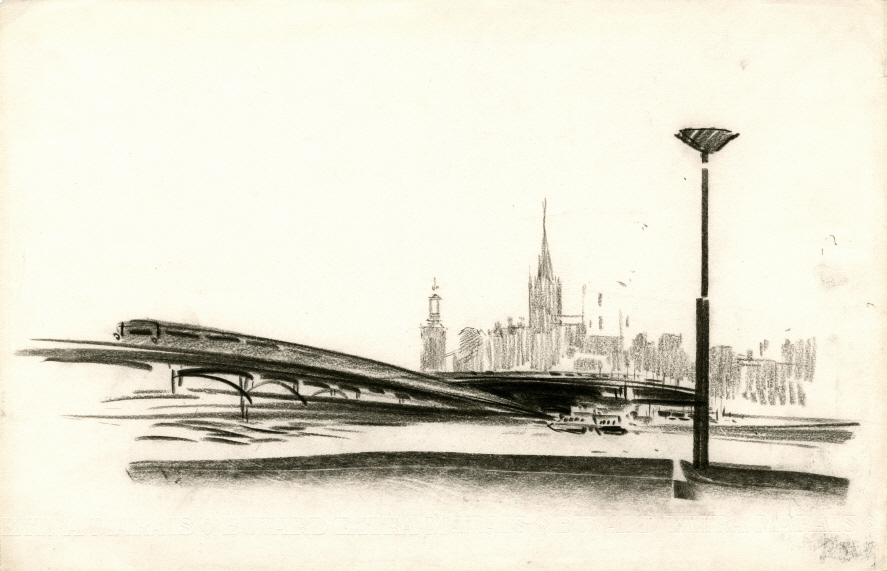 Stockholm (Sketch), 1967, Charcoal on paper, 32.7×50.6cm