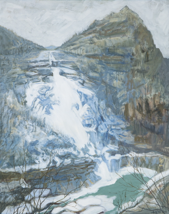 Bibong Waterfall in Mount Kumgang, 2008, Acrylic on canvas, 130x162cm