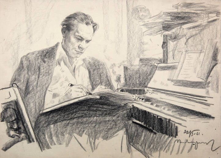 The Composer, 1961, Black chalk, pencil on paper, 36×50cm