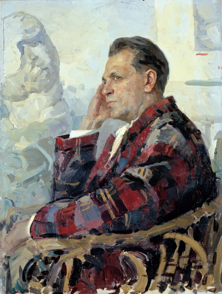 Portrait of the Artist Piotr Belosov, 1965, Oil on canvas, 80×60cm